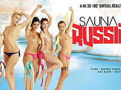 Alex Black  Kattie Gold  Rihanna Samuel  Silvia Dellai  Sweet Cat in Sauna Russian Style part 1 - VRBangers