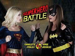 April Brookes  Charlotte Stokely in Superhero Battle - WankzVR