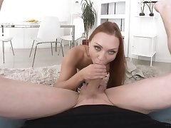 Morgan Rodriguez loves to give a blowjob and climbs on a fat gumshoe